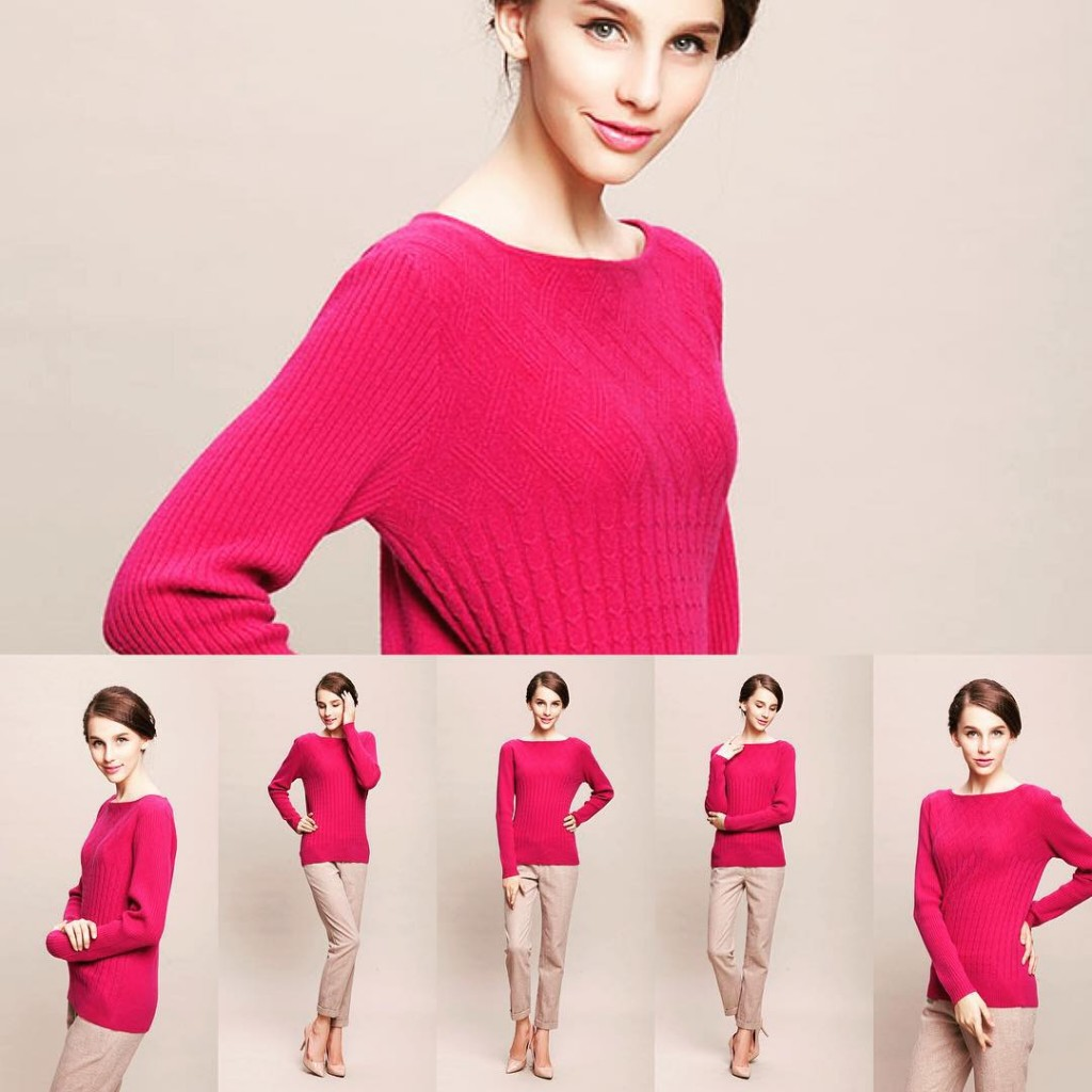 Rose ladies' knitted sweater with cable pattern.