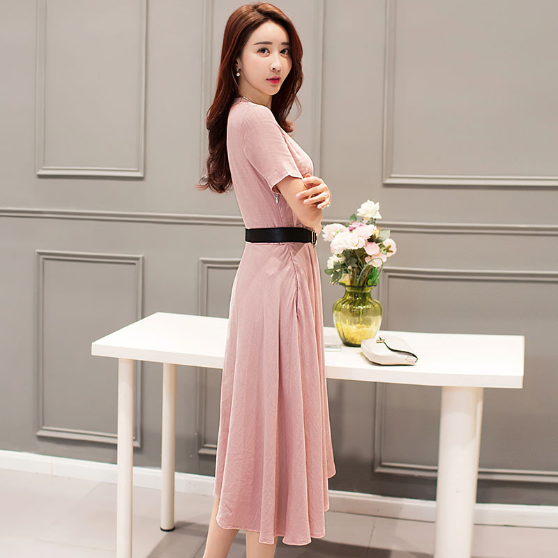 FLORAL HIGH WAIST V-NECK DRESS (4)