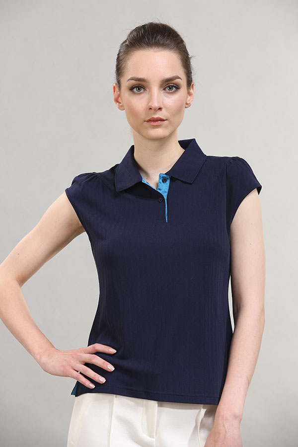wholesale-2-button-Spread-collar-slim-women's-top