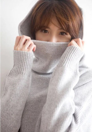 Natural Piles Collar Cashmere Knit Pullovers (1)